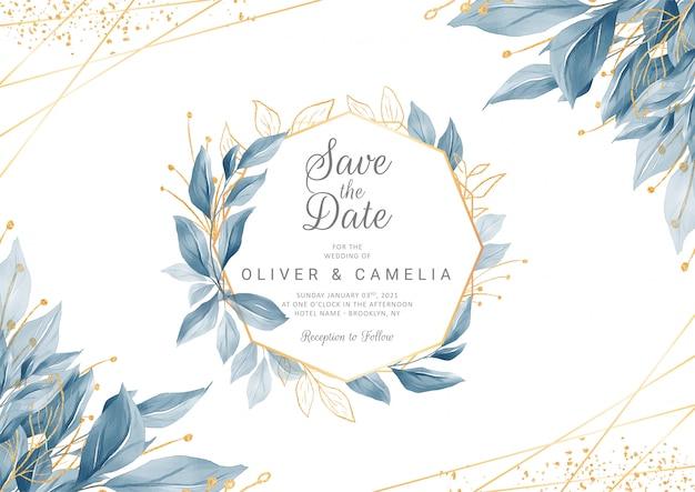 Marineblauw bruiloft uitnodigingskaartsjabloon met gouden aquarel bloemen frame Premium Vector