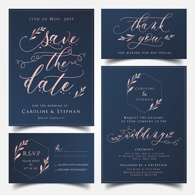 Marineblauw en rose goud de de uitnodigingskaart van het huwelijk, sparen de kaart van de datum, danken u kaart en rs Premium Vector