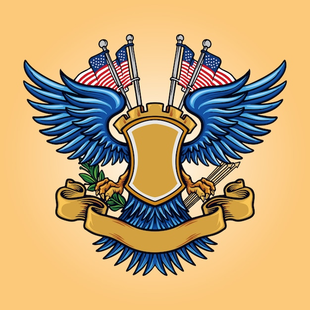 Markeer american badge mascot logo met lint Premium Vector