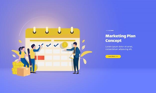 Markeer de datum voor het marketingplan en de bestemmingspagina van de checklist Premium Vector