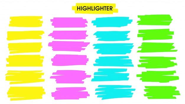 Markeer penseellijnen. hand getrokken gele markeerstift lijn lijn voor woord onderstrepen. Premium Vector
