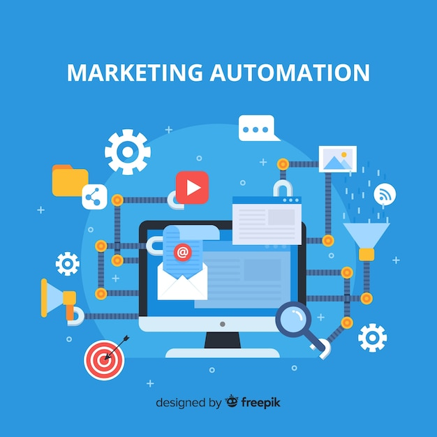 Marketing automatisering vlakke achtergrond Gratis Vector