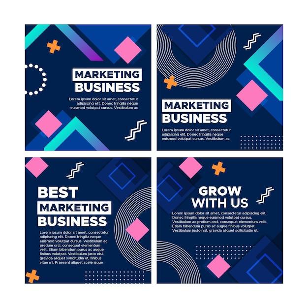 Marketing bedrijf instagram posts collectie Premium Vector