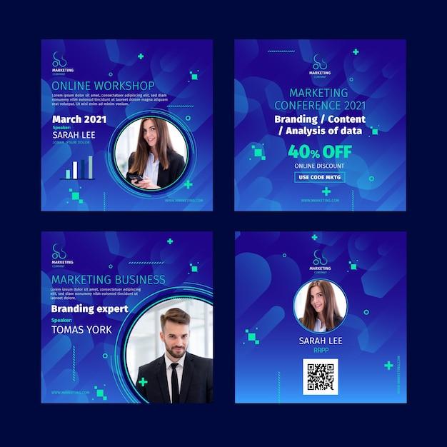 Marketing bedrijf instagram posts sjabloon Gratis Vector