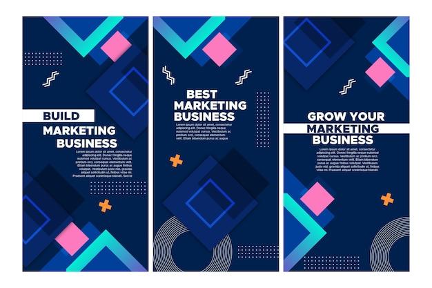 Marketing bedrijf instagram verhalencollectie Premium Vector