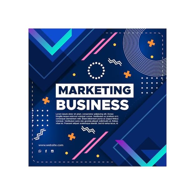 Marketing bedrijf kwadraat flyer sjabloon Premium Vector