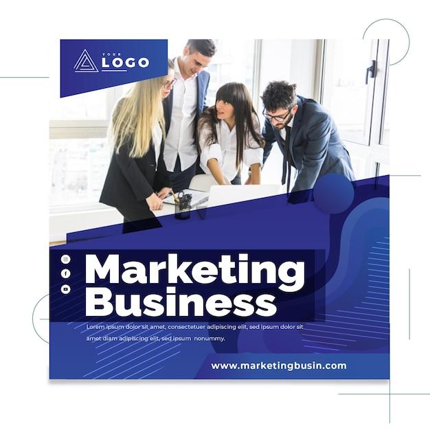 Marketing bedrijf kwadraat flyer Premium Vector