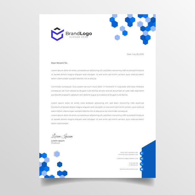 Marketing briefpapier Premium Vector