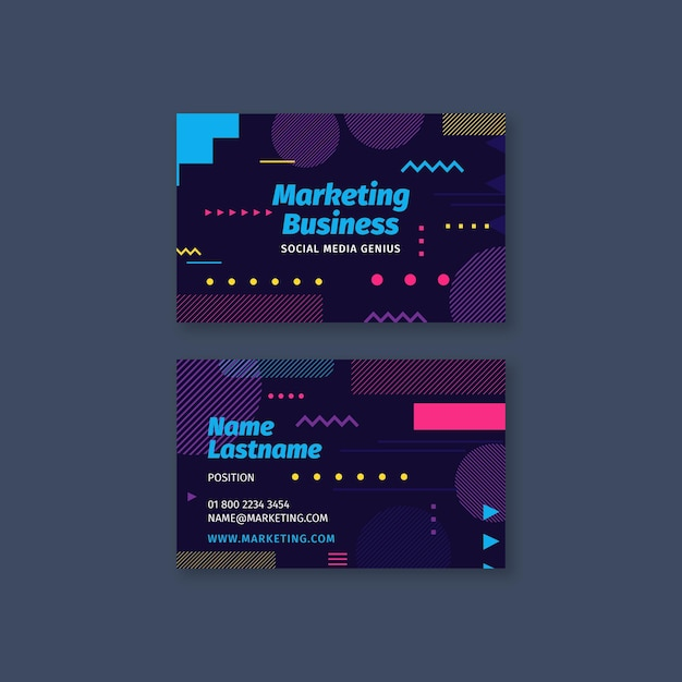 Marketing business dubbelzijdig visitekaartje Premium Vector
