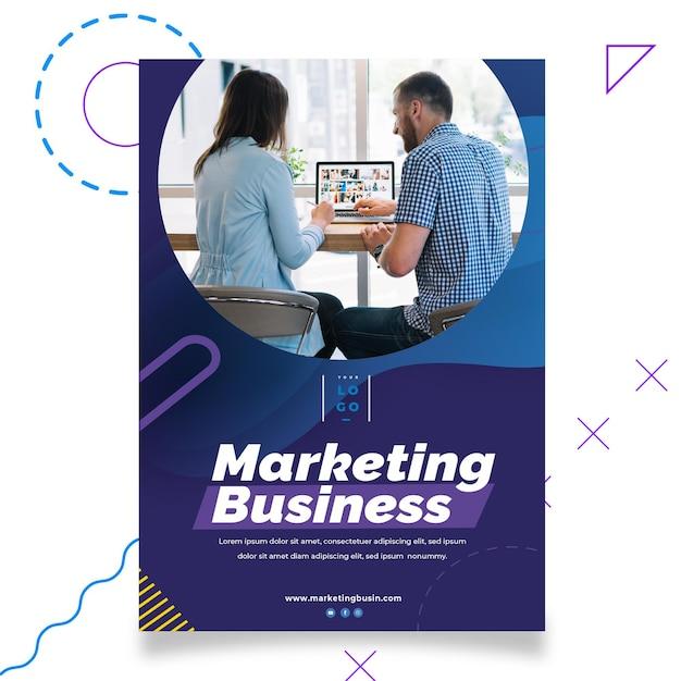 Marketing business poster poster sjabloon Gratis Vector