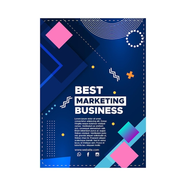 Marketing business poster sjabloon Gratis Vector