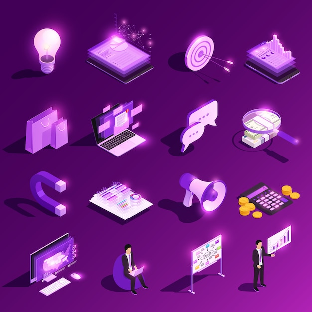 Marketing concept isometrische gloed pictogram set en financiële pictogrammen met menselijke personages vector illustratie Gratis Vector