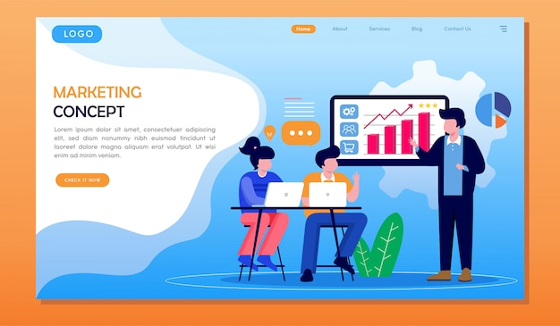 Marketing concept strategie presentatie met team website bestemmingspagina Premium Vector