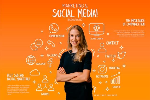 Marketing en sociale media achtergrond met grappige elementen Gratis Vector