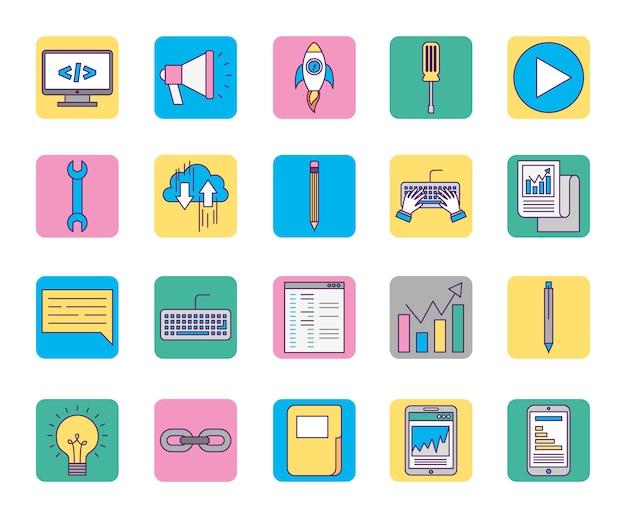 Marketing pictogrammen online bedrijfs vastgestelde pictogrammen Gratis Vector