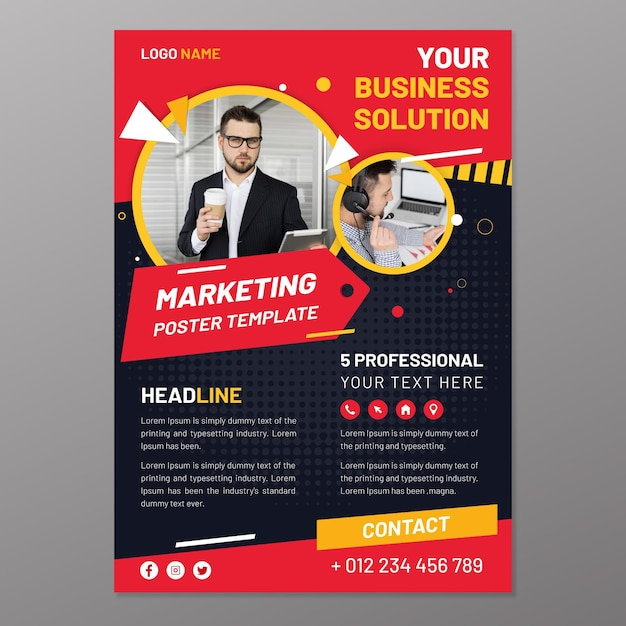 Marketing poster sjabloon Gratis Vector