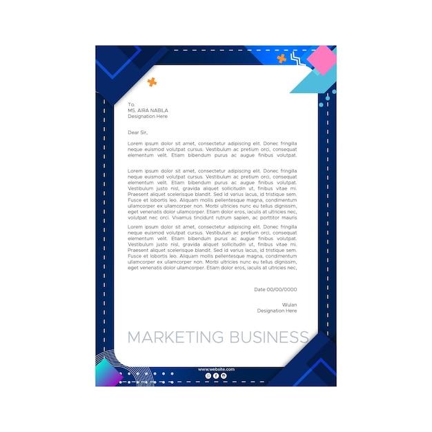 Marketing zakelijke briefhoofdsjabloon Gratis Vector