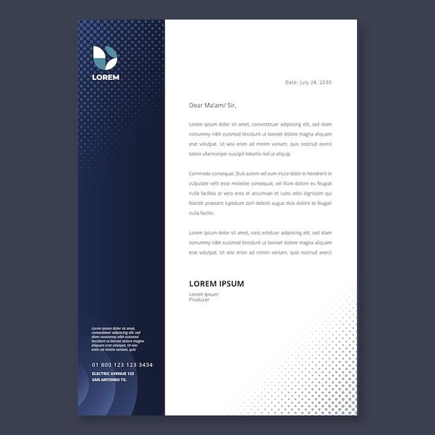 Marketing zakelijke briefhoofdsjabloon Premium Vector