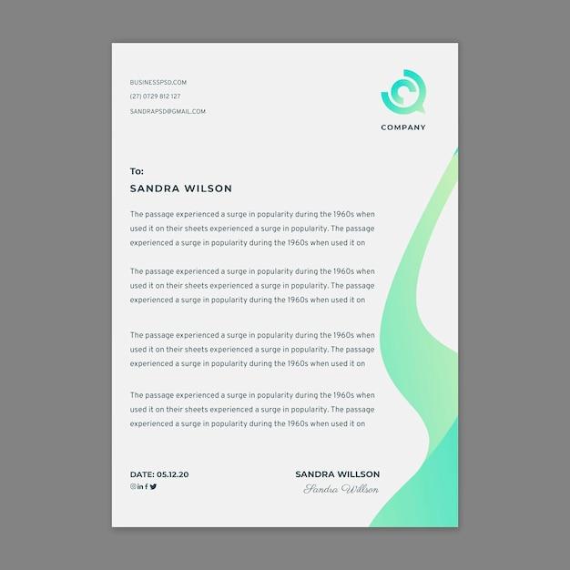 Marketing zakelijke briefpapier sjabloon Premium Vector