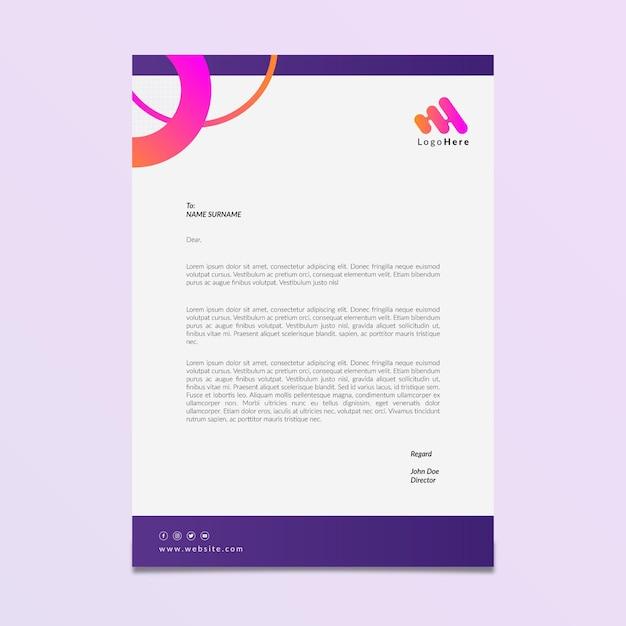 Marketing zakelijke briefpapier sjabloon Gratis Vector