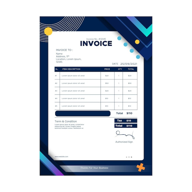 Marketing zakelijke factuursjabloon Premium Vector