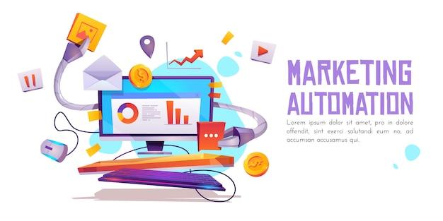 Marketingautomatisering banner. technologie voor seo Gratis Vector