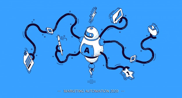 Marketingautomatisering. technologie voor seo Gratis Vector