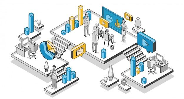 Marketingstrategie, financieel analysebedrijf Gratis Vector