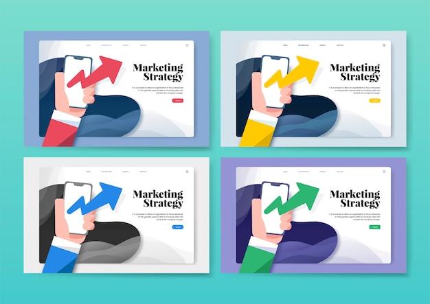 Marketingstrategie informatie grafische website Gratis Vector