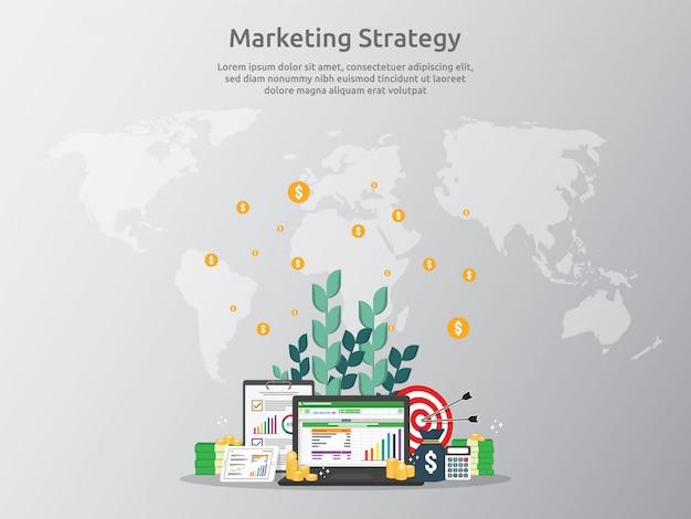 Marketingstrategieconcept voor bedrijfsfinanciënanalyse Premium Vector