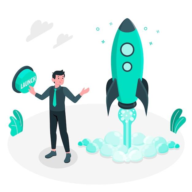 Markt lancering concept illustratie Gratis Vector