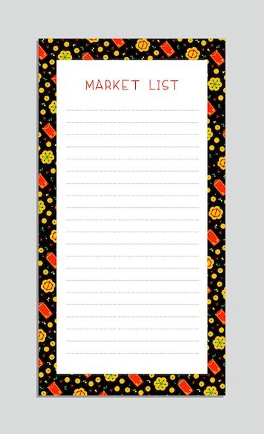 Marktlijst. chinese lantaarns, gouden munten, rode enveloppen en vuurwerk. kladblok checklist layout Gratis Vector