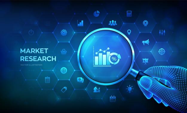 Marktonderzoek. marketing strategieconcept met meer magnifier in draadframehand en pictogrammen. Premium Vector