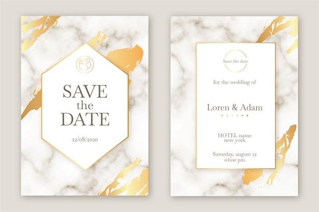 Marmeren elegante bruiloft uitnodiging sjabloon Gratis Vector