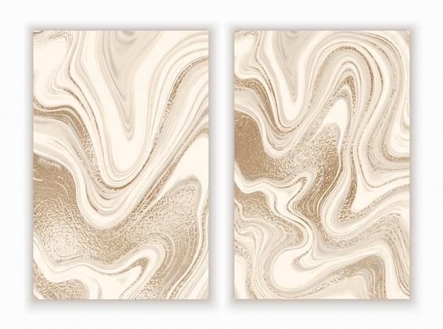 Marmeren gouden achtergrond in trendy minimalistische stijl Premium Vector