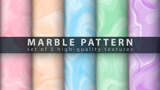 Marmeren textuurpatroon - stel vijf items in Premium Vector
