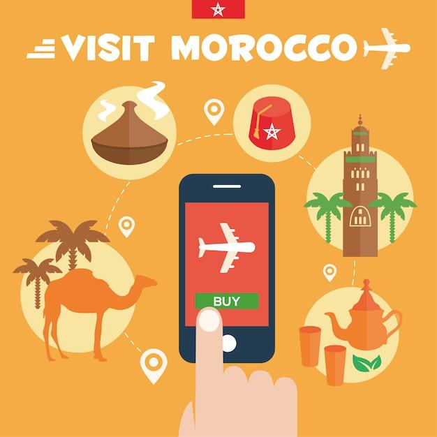 Marokko achtergrond ontwerp Gratis Vector