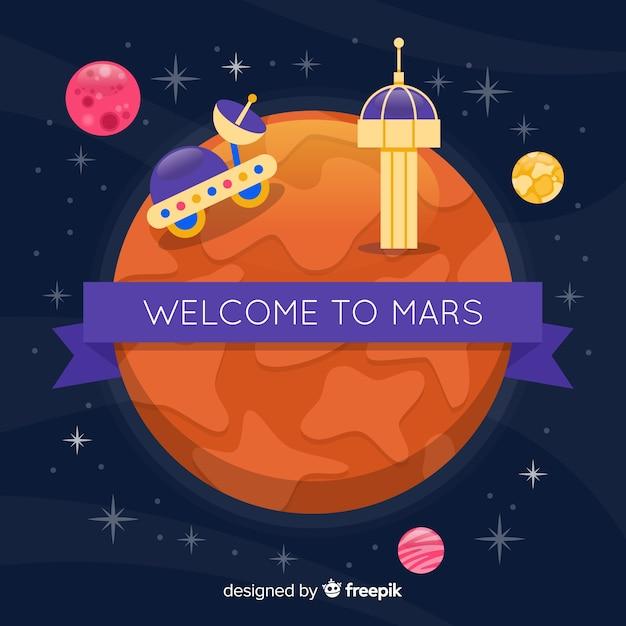 Mars exploratie achtergrond Gratis Vector