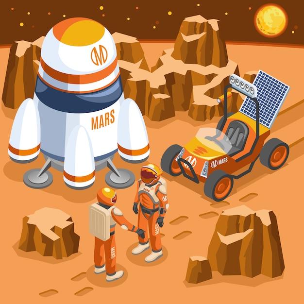 Mars exploratie isometrische illustratie Gratis Vector