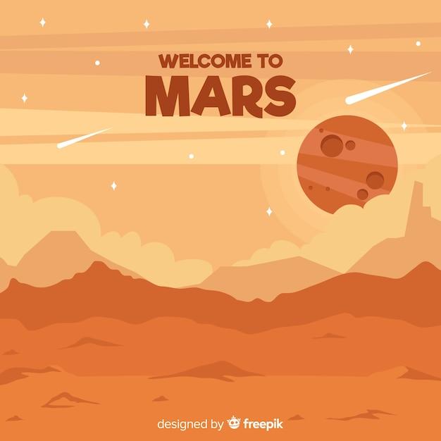 Mars landschap achtergrond Gratis Vector
