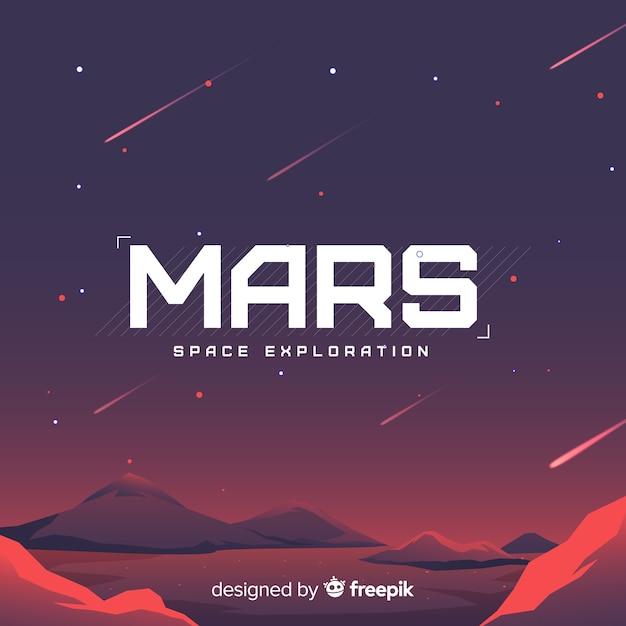 Mars-landschapsachtergrond met vlak ontwerp Gratis Vector