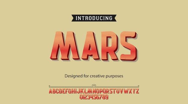 Mars lettertype. lettertype met alfabet en cijfers Premium Vector