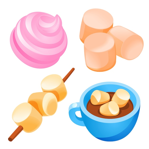 Marshmallow pictogrammen instellen, cartoon stijl Premium Vector