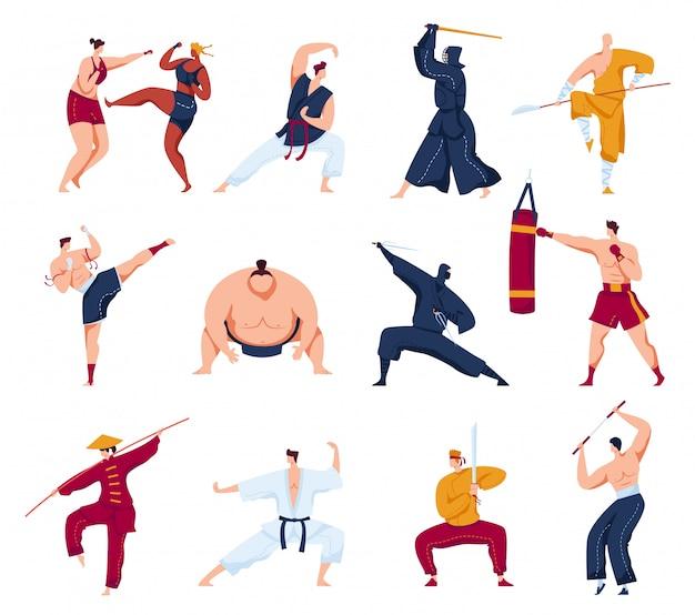 Martial arts illustratie set, cartoon collectie met actieve vechters, mensen in kimono training of vechten Premium Vector