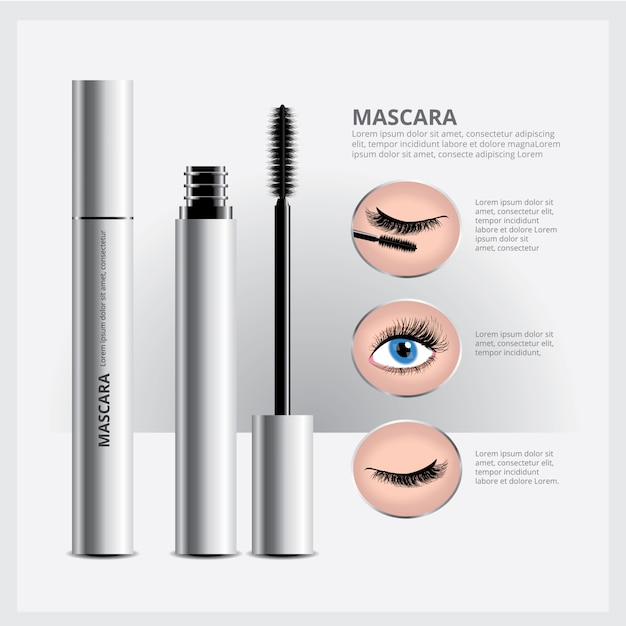 Mascara-verpakking met oogmake-up Premium Vector