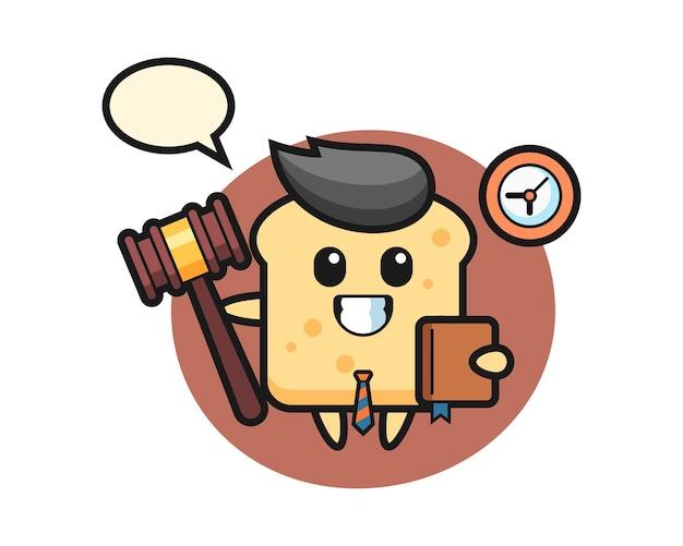 Mascotte cartoon van brood als rechter Premium Vector