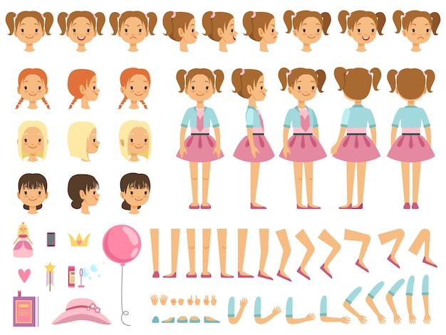 Mascotte creatie kit van klein meisje en een aantal kinderen speelgoed. vector constructor met leuke emoties en Premium Vector