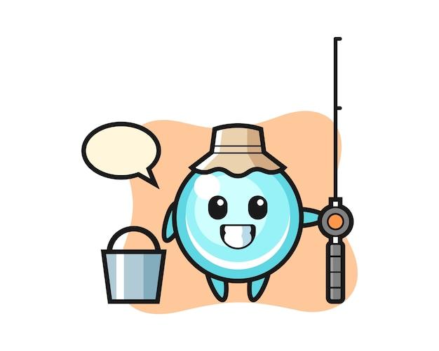 Mascotte karakter van bubble als visser, schattig stijlontwerp Premium Vector