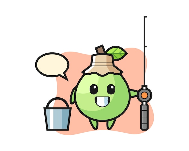 Mascotte karakter van guave als visser, schattig stijlontwerp voor t-shirt, sticker, logo-element Premium Vector