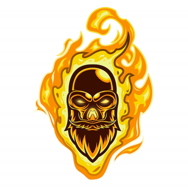 Mascotte logo vuurschedel hoofd Premium Vector